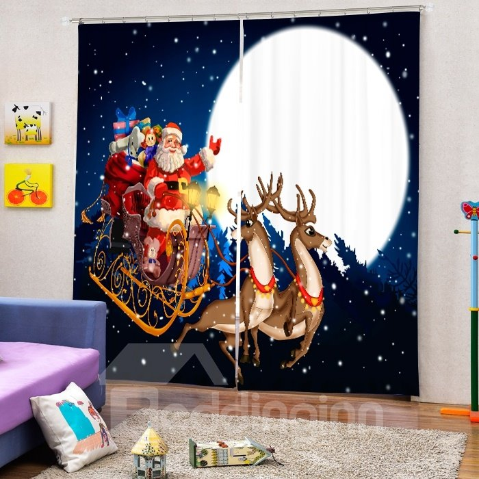 Cartoon Santa Riding Reindeer at Moon Printing Christmas Theme 3D Curtain