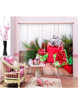 Christmas Gifts under the Tree Printing Christmas Theme 3D Curtain