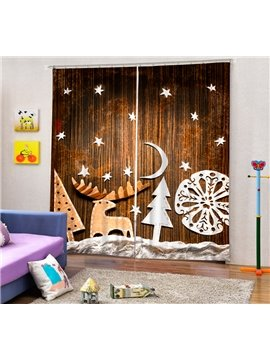 Creative Applique Reindeer and Christmas Tree Printing Christmas Theme 3D Curtain