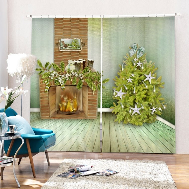 Fireplace and Christmas Tree Printing Christmas Theme 3D Curtain