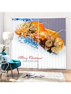 Golden Christmas Balls Decor Printing Merry Christmas Theme 3D Curtain