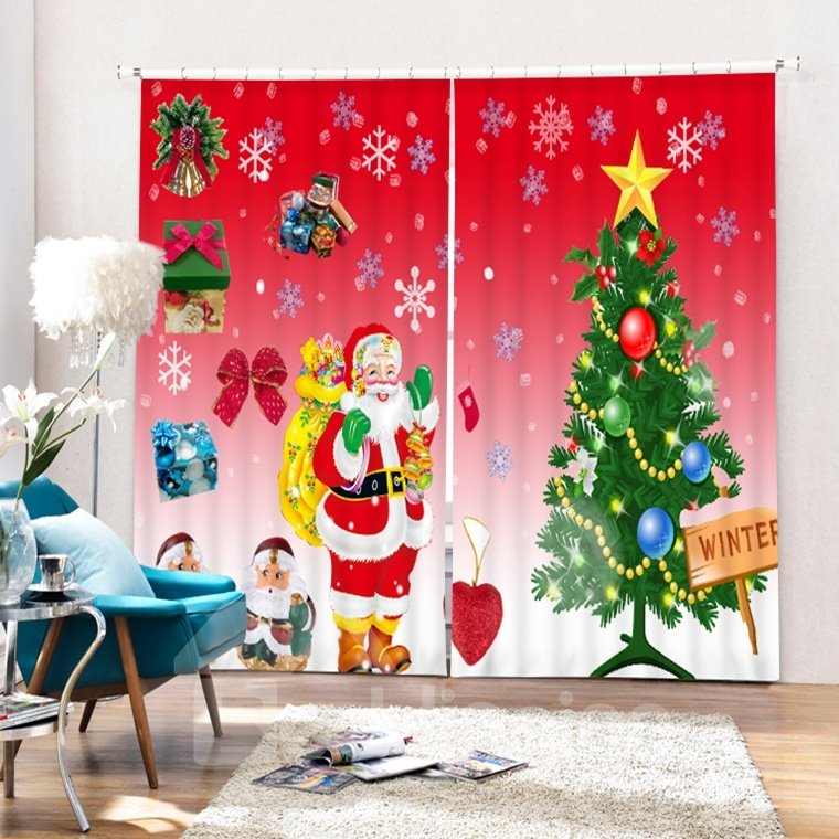 Cartoon Santa Standing near Christmas Tree Wave Printing 3D Curtain