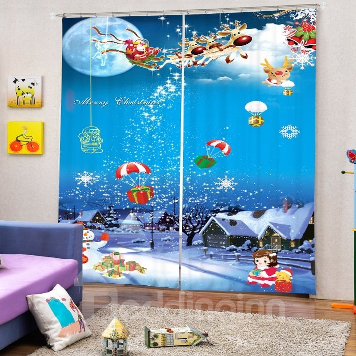 Cartoon Santa Riding Reindeer Drop Gift Printing Christmas Theme 3D Curtain