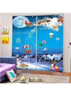 Cartoon Santa Riding Reindeer Drop Gift Printing Christmas Theme 3D Curtain
