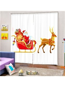 Cartoon Santa Riding Reindeer Printing White Christmas Theme 3D Curtain