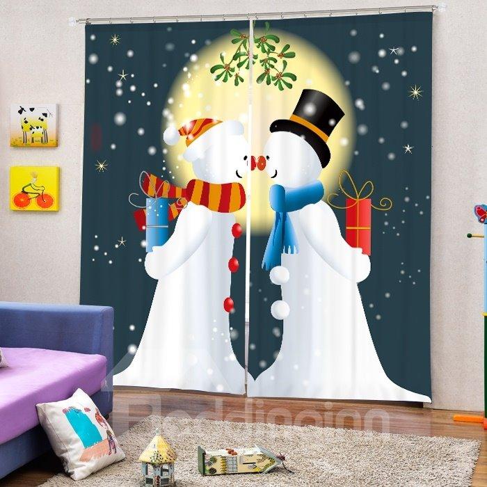 Couple Snowman Lover Printing Christmas Theme 3D Curtain
