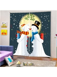 Couple Snowman Lover Printing Christmas Theme 3D Curtain