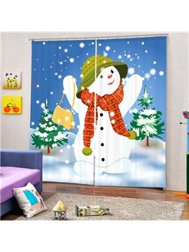 Cheerful Snowman with Red Scarf Printing Christmas Theme 3D Curtain