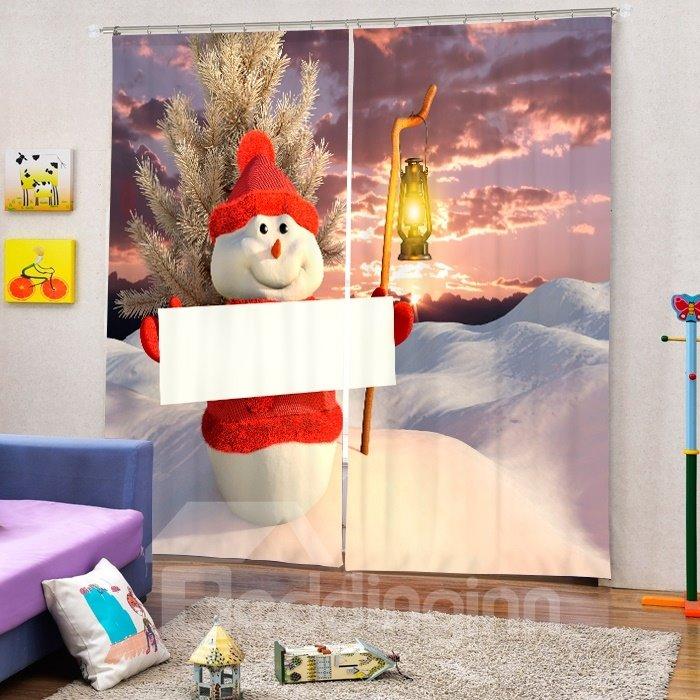 Snowman Holding a White Board Printing Christmas Theme 3D Curtain