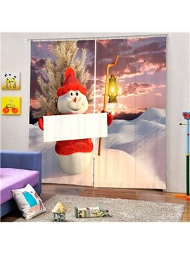Snowman Holding a White Board Printing Christmas Theme 3D Curtain
