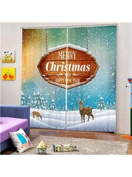 Reindeer in the Snow Printing Merry Christmas Theme 3D Curtain
