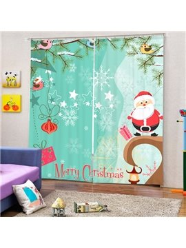 Clip Art Santa Merry Christmas Theme Printing 3D Curtain