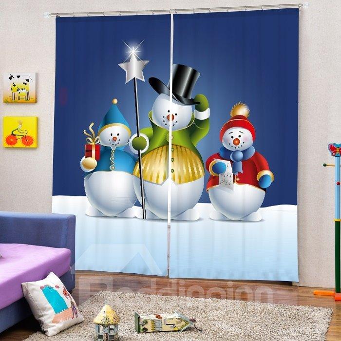 Three Lovely Snowmen Printing Christmas Theme 3D Curtain