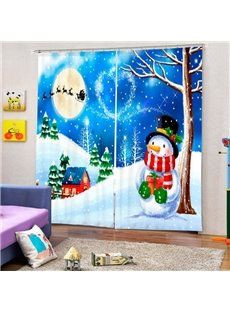 Cartoon Snowman under the Tree Printing Christmas Theme 3D Curtain