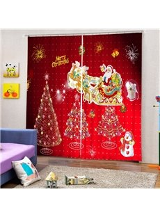 Cute Santa Riding Reindeer and Christmas Tree Printing Red 3D Curtain