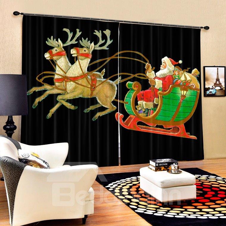 Cartoon Santa Riding Reindeer Printing Black Christmas Theme 3D Curtain