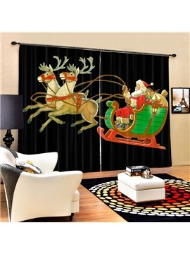 Cartoon Santa Riding Reindeer Printing Black Christmas Theme 3D Curtain