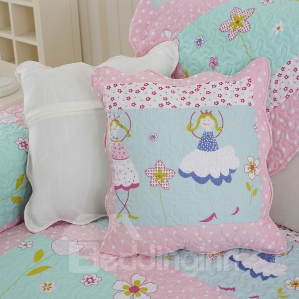 Cute Lovely Pink Square Beautiful Girl Print Home Decorative Sofa Throw Pillow