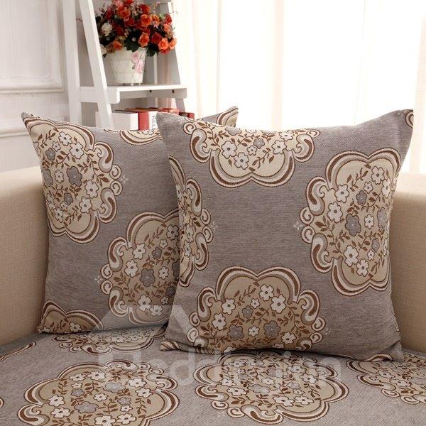 European Style Gray Flower Pattern Home Decorative Sofa Throw Pillow - beddinginn.com