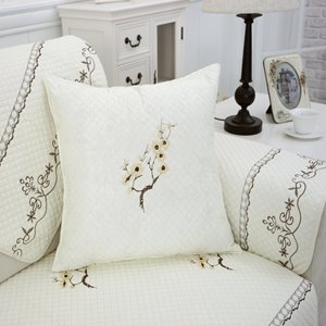 White Simple Square Plum Blossom Print with Invisible Zipper Sofa Throw Pillow