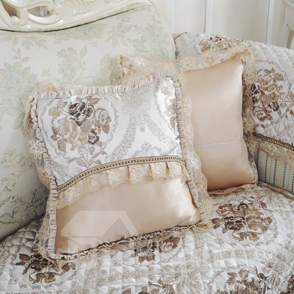 Fashion Design Flower Pattern Lace Edge with Invisible zipper Sofa Throw Pillow