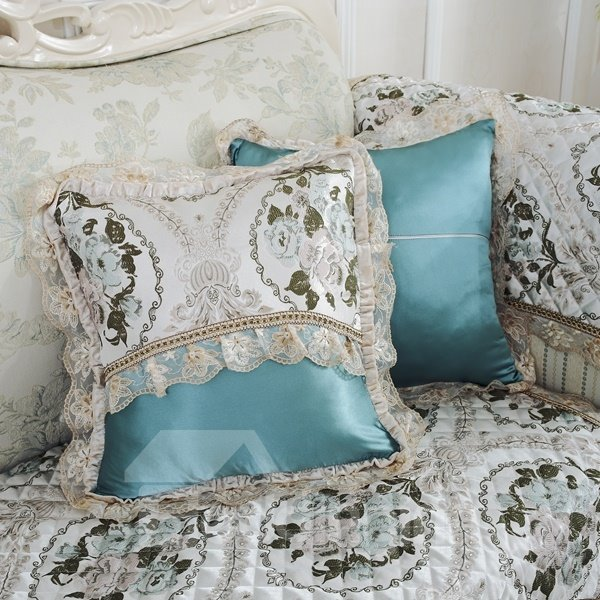 Fashion Design Flower Pattern Lace Edge with Invisible zipper Sofa Throw Pillow - beddinginn.com