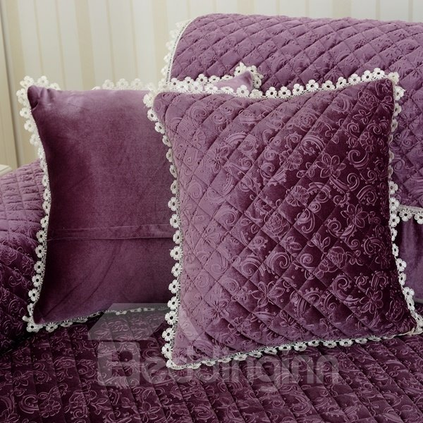 Soft Square Quilting Seam Plaid Pattern Decorative Sofa Throw Pillow