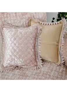 Delicate Square Pleuche Quilting Seam Lace Edge Home Decorative Throw Pillow