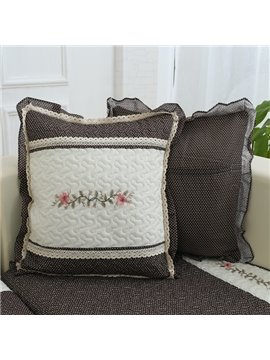 Gray Square Flower Pattern with Lace Edge Sofa Decorative Throw Pillow
