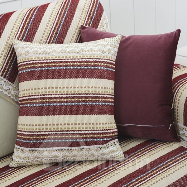 Colorful Strips Print Polyester Fiber Washable with Invisible zipper Sofa Throw Pillow ...