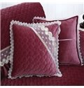 Delicate Square Quilting Seam Lace Edge with Invisible Zipper Sofa Throw Pillow
