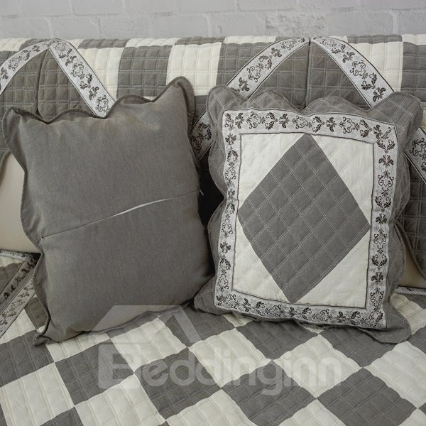Gray Square Quilting Seam Plaid Pattern with Invisible Zipper Decorative Sofa Throw Pillow ...