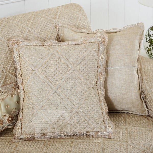 Elegant European Style Polyester Square Shape Soft Sofa Throw Pillow