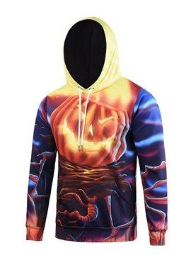 Halloween Style Long Sleeve Flaming Pumkin Pattern Pocket 3D Painted Hoodie