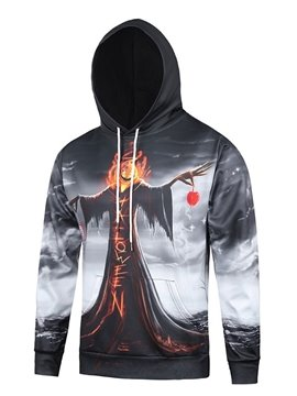 Halloween Style Long Sleeve Pumkin Devil Pattern Pocket 3D Painted Hoodie