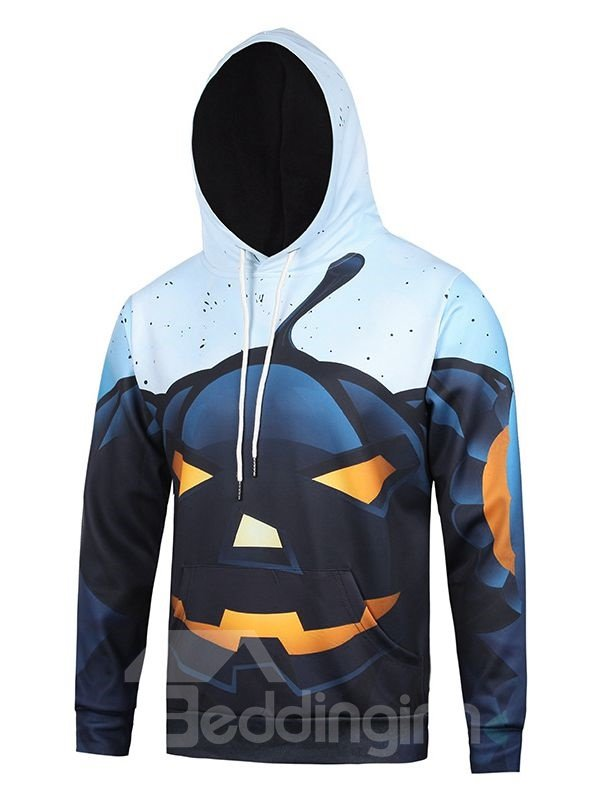 Halloween Style Long Sleeve Pumkin Light Pattern Pocket 3D Painted Hoodie