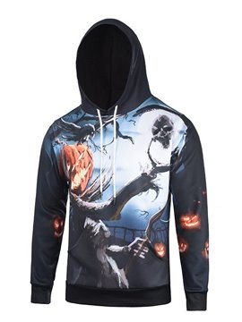 Halloween Style Long Sleeve Tree and Pumkin Pattern 3D Painted Hoodie