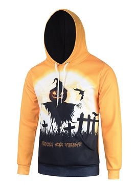 Halloween Style Long Sleeve Pumkins Pattern 3D Painted Hoodie