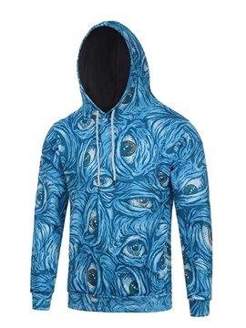 Long Sleeve Creative Eyes Pattern Blue Pocket 3D Painted Hoodie