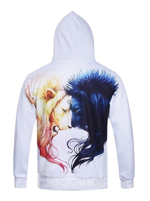 Fashion Long Sleeve Lion Couple Pattern Pocket 3D Painted Hoodie