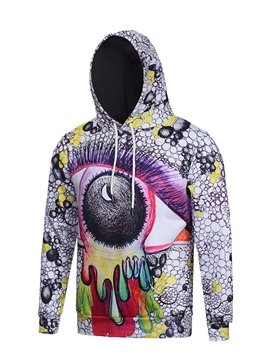 Long Sleeve Crazy Eye Pattern Pocket 3D Painted Hoodie