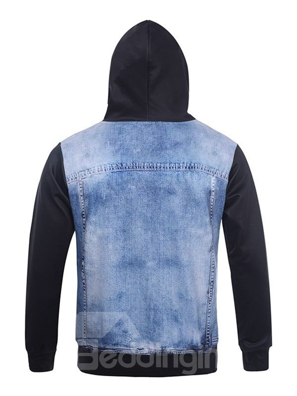 Cool Long Sleeve Double Layer Cowboy Pattern Pocket 3D Painted Hoodie