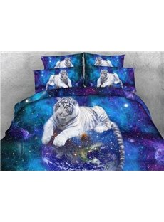 White Tiger and 	Galaxy Print 4-Piece Duvet Cover Sets