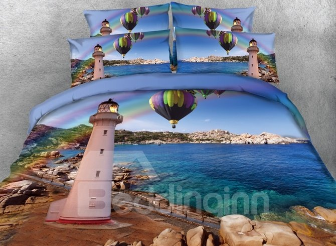 Attractive Lighthouse Sea Scenery Print 4-Piece Duvet Cover Sets