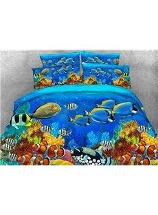 Splendid 3D Fish Aquarium Printed 4-Piece Duvet Cover Sets