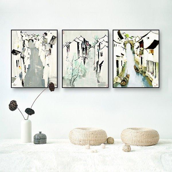Elegant Framed 3-pieces Riverside Town Pattern Home Decorative Wall Art Prints