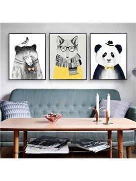 Amusing Fancy Decorative Animal Pattern Framed 3-pieces Wall Art Prints