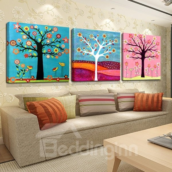 Happiness Tree Pattern Decorative None Framed 3-pieces Wall Art Prints
