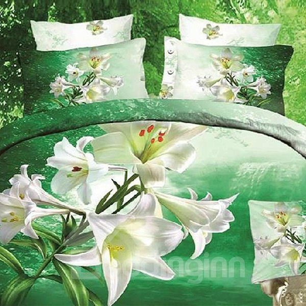 Thriving Blooming Lily Reactive Print 3D Fitted Sheet