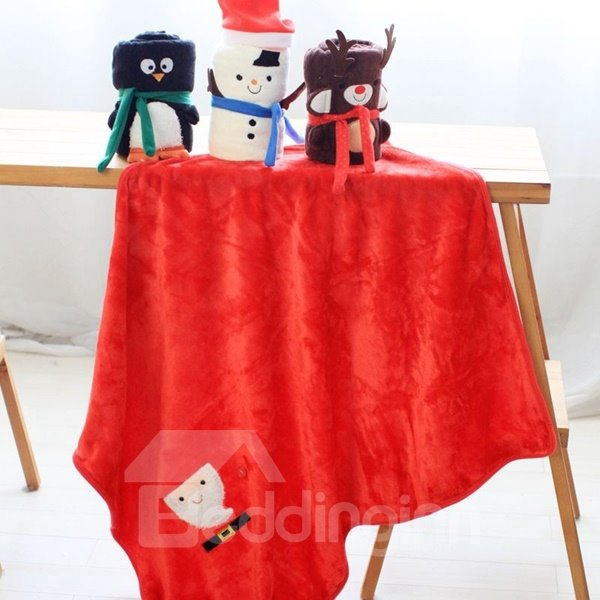 Lovely Christmas Snowman Design Soft Coral Blanket